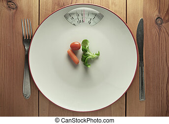 Diet concept - Plate with bathroom scales and a small...