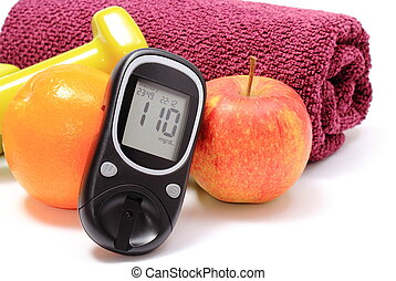 Glucometer, fresh fruits and dumbbells with purple towel -...