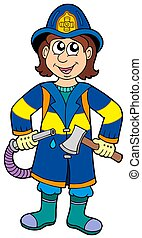 Fireman with axe - isolated illustration.