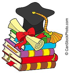 Graduation hat on pile of books - isolated illustration.