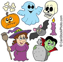 Halloween cartoons collection - isolated illustration.