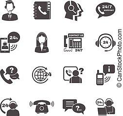 Apoyo, contacto, llamada, centro, iconos, Conjunto,