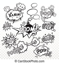 Comic boom set - Comic black speech bubbles in pop art style...