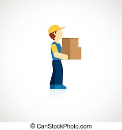 Delivery Man Icon Flat - Delivery man with carton box icon...