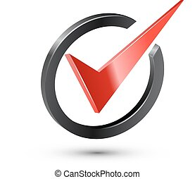 Red check mark in black circle. Realistic vector...