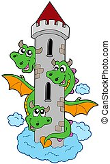 Three headed dragon with tower - isolated illustration