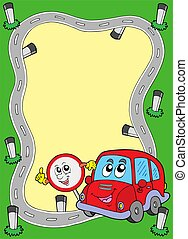 Road frame with cute car - color illustration