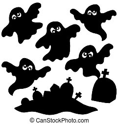 Scary ghosts silhouettes collection - isolated illustration.