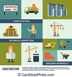 Construction Icons Set - Construction icons flat set with...