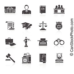Law Icon Set - Law court and criminal symbols icon black set...