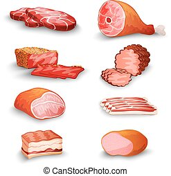 Fresh Meat Set - Fresh meat products set with steak bacon...
