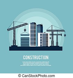 construction, industrie, affiche,