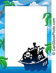 Frame with pirate ship silhouette - color illustration.