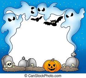 Halloween frame with ghosts 2 - color illustration.