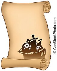 Scroll with pirate ship silhouette - color illustration.