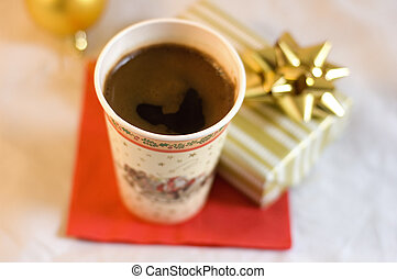 christmas morning - cup of coffe and gift box