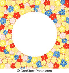 Lots of colorful flowers arranged around a large circular...