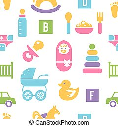 Newborn and toys background. Colorful silhouettes of...