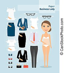 Business lady paper doll. Cute girl in office clothes. Set...