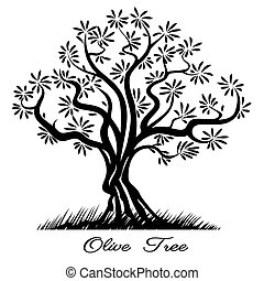 Olive tree silhouette Sketch wood painted black lines Vector...