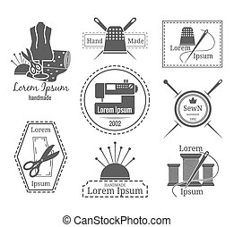 Vintage tailor logo or badges Set of logos on the theme of...