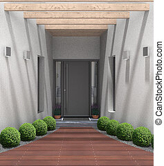 modern home entrance - fictitious 3D rendering of a modern...