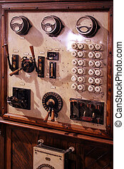 old measurement - the old wooden fuse box in retro style