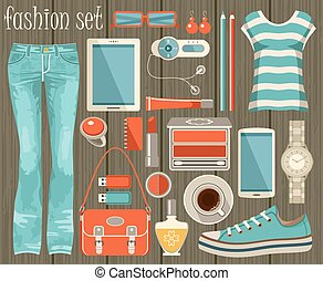 Fashion set in a style flat design. - Fashion vector set in...