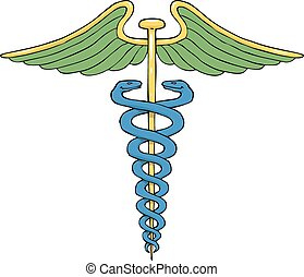 Caduceus - Cartoon caduceus on white background vector...