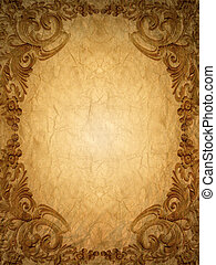 Gold ornament flower frame vintage in old paper