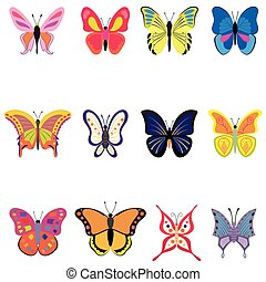Set of colorful vector butterflies