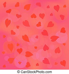 red hearts on pink background