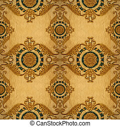 Gold ornament flower vintage patten in old paper background