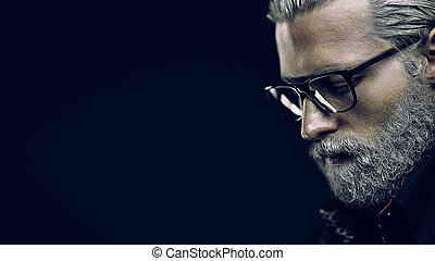 Gray haired man portrait - Artistic portrait of gray haired...