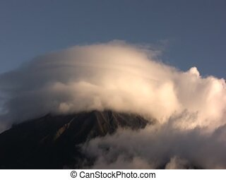 Tunguragua Volcano - Timelapse of cloud movements over...