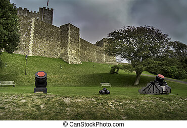 Dover castle - Medieval Dover castle with cannons in the...