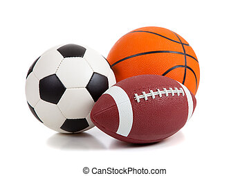 Sports Balls on White - An american football, a soccer ball...