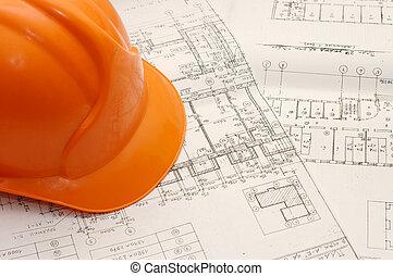 proyecto, casco, naranja, casa