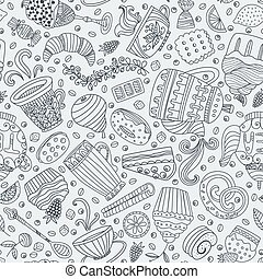 Dessert seamless pattern - Cute seamless pattern with sweets...