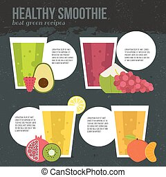 Fresh smoothie vector concept. Menu element for cafe or...