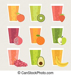 Fresh Smoothie - Fruit smoothie collection. Menu element for...