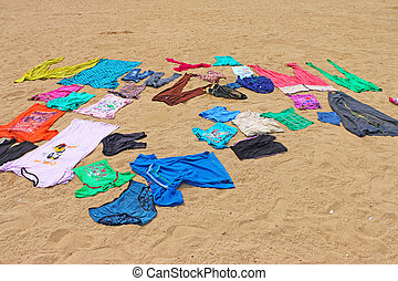 clothes drying on beach mumbai india - clothes drying on...