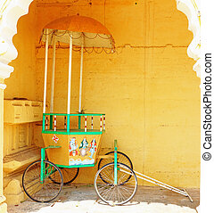Mysore Palace Karnataka india - ancient rickshaw in this...