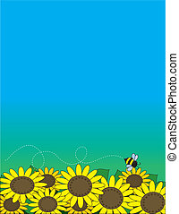 Sunflowers - A bed of sunflowers with a bee hovering over...
