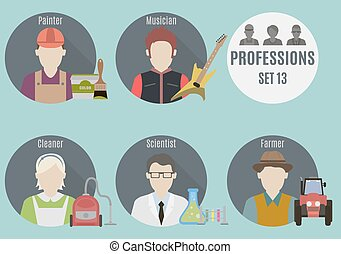 Profession people Set 13 Flat style icons in circles