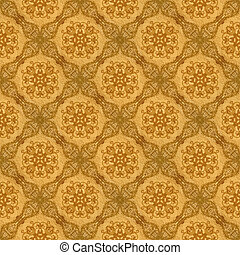 Gold ornament flower vintage pattern in old paper background...
