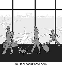 Family at an Airport