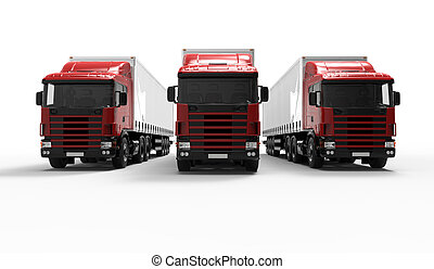 Red trucks - 3D Render of a Fleet of Delivery Vehicles