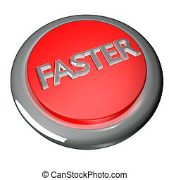 Faster button isolated over white, 3d render