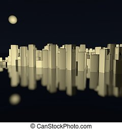 Skyline - City skyline reflecting on sea, 3d render